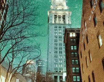 BOSTON CITY SKYLINE Fine Art Photography, New England Travel Art, Massachusetts Print, Buildings, Night, Skyline