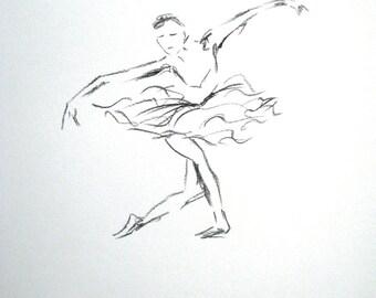 Charcoal ballet drawing - Swan Lake - original art work - europeanstreetteam
