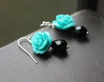 Turquoise Blue Rose and Black Teardrop earrings