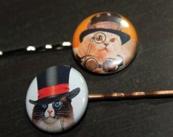 Cat Lover Steampunk Cat Hair Pins Stocking Stuffers