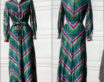 Vintage 70s Silver & Rainbow Chevron Stripe Party Dress - Bust 38""