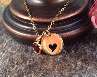 Heart Necklace, Birthstone Necklace, Cut Out Heart Necklace, Gold Cut Out Heart Necklace, Gold Necklace