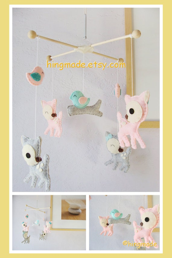 Baby Mobile Girl Nursery Mobile Deer Mobile Pink By Hingmade