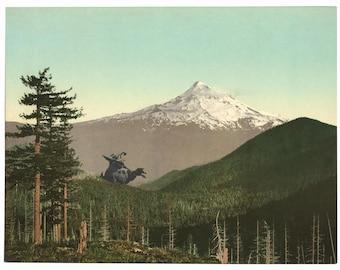 Digital Print, Mt Hood, Monster Art, Mount Hood, Portland Oregon, Keep Portland Weird, Monsters, Geekery, Alternate Histories