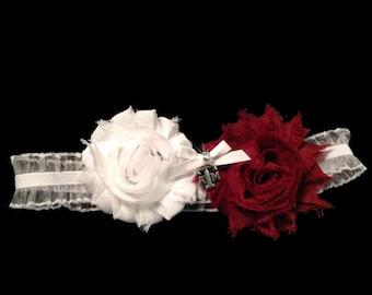 Texas A & M Aggies Wedding Garter Game Day Garter Maroon and White