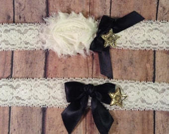 Sheriff Department Officer Ivory Stretch Lace Wedding Garter Set with Star Law Enforcement Badge