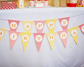 Monkey Party Happy Birthday Banner- Printable, Instant Download