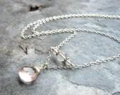 Rose Quartz Necklace Delicate Pink Gemstone Necklace Briolette, Sterling Silver