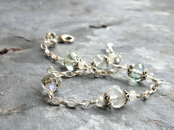 Aquamarine Bracelet, Pale Blue, Sterling Silver Wire Wrapped Bracelet, March Birthstone, Moonstone