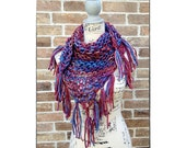 Bulky Triangle Scarf Knitting Pattern, Lacy Scarf, Chunky Scarf, Craft Party, DIY Christmas Gift Prayer Shawl Quick Knit WWKIP Day