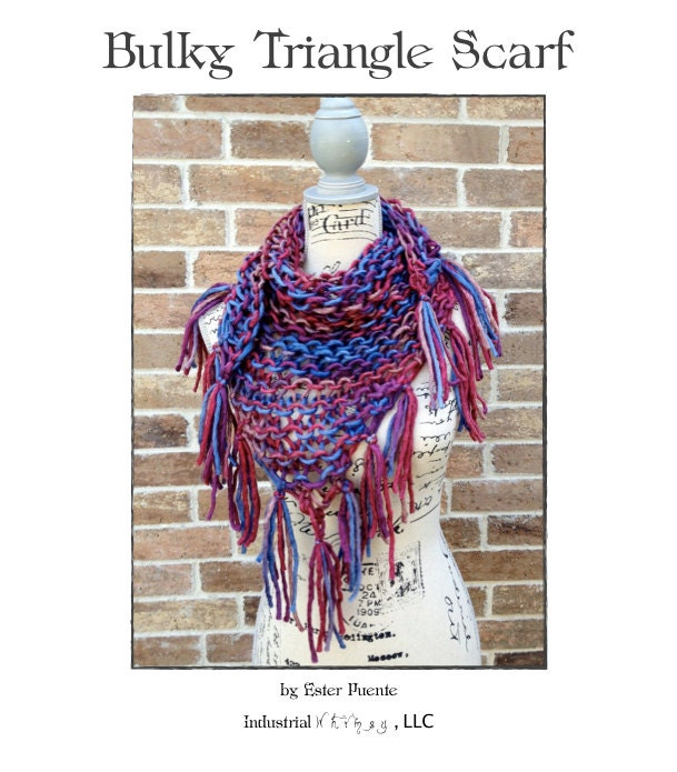 Knitting Patterns For Triangle Scarves : Bulky Triangle Scarf Knitting Pattern Lacy by IndustrialWhimsy