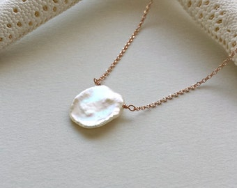 White Keishi Pearl Necklace, Keshi Pearl, Pearl Solitaire Necklace, White Pearl Pendant, Minimalist, Bridal Jewelry