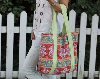 Retro Flower Tote Bag - floral green red retro beach tote medium gift for her