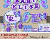 Butterfly Birthday Party Supplies, Butterfly Baby Shower Decorations - Cake Topper, Invitations, Invites, Cupcake Toppers, Banner, Package