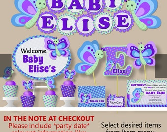 Girl Butterfly Baby Shower and Birthday Party Decorations - Invitations, Banner, Cake Topper, Invites, Cupcake Toppers