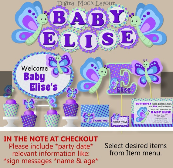 Girl butterfly baby shower and birthday party decorations - Butterfly themed baby shower favors ...