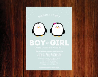 Gender Reveal Party, waddle it be invitation, penguin invitation, baby shower invitation - Penguins  set of 15