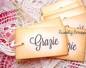 8 Grazie Tags, Thank You, Vintage, Sweet and Simple, Black, Aged