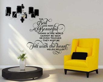 Best and Beautiful Helen Keller quote - Vinyl Wall Decal Sticker Art