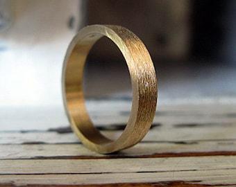 14K Gold Mens Wedding Band Brushed Finish 4mm Gold Band Mens Wedding Ring Textured Wedding Band Handmade Artisan Unique Commitment Ring
