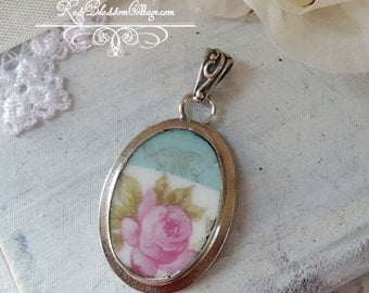 Robins Egg Blue  Shabby Pink Rose  Broken China Jewelry Vintage Oval Pendant Necklace