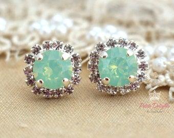 Mint Silver Earrings,Opal Mint Earrings,Rose Gold Mint Earring,Mint Opal Earrings,Bridesmaids Earrings,Opal Mint Stud Swarovski Earrings