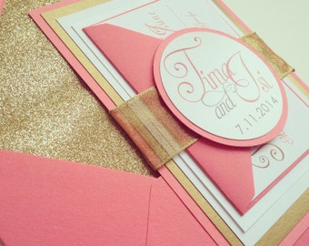 Gold and Coral Wedding Invitation - SAMPLE