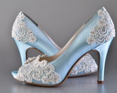 "Wedding Shoes Accessories Womens Wedding Bridal Shoes Vintage Wedding Lace Peep Toe 3 1/4"" Heels PB525A Customized Women's Bridal Shoes"