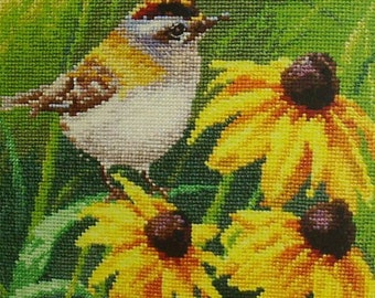 NEW Russian Counted Cross Stitch KIT Alisa 1-21 Goldcrest in flowers