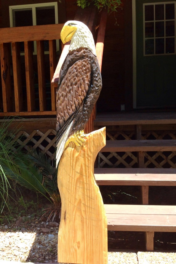 Perched American Bald Eagle 54' tall rustic  Americana chainsaw carving wooden wild bird sculpture rustic home decor detailed original art