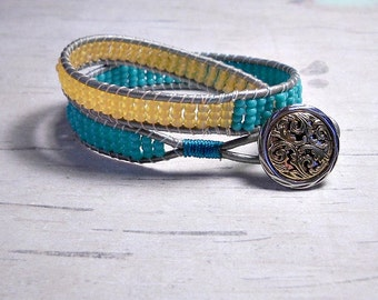 Leather Double Wrap - Wrap Around - Bead Wrap Bracelet - Double Wrap Bracelet - Womens Bracelet - Boho Bracelet - Gifts For Her