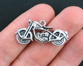 2 Motorcycle Charms Antique Silver Tone Large Size 3D - SC3646