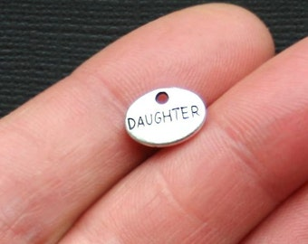 10 Daughter Charms Antique  Silver Tone 2 Sided  - SC3048