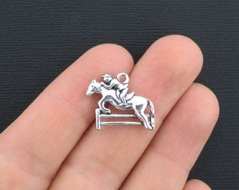 5 Horse Jumping Charms Antique Silver Tone 2 Sided Equestrian  - SC3082