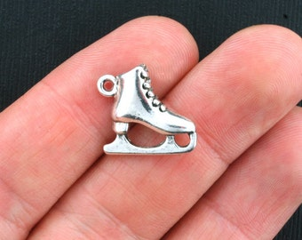 4 Ice Skate Charms Antique Silver Tone 3D - SC3890