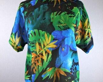 Bright Floral Tropical Rainforest Blouse