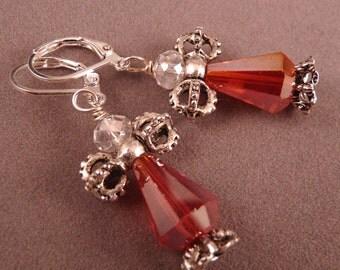 Christmas Earrings Christmas Jewelry Crystal Jewelry Angel Earrings Red Jewelry Angel Earrings Holiday Jewelry Beaded Jewelry