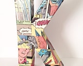 Small Comic Book Letter, Pop Art, Custom Made 6 Inch