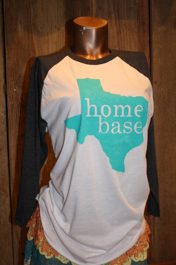 Medium texas home base state turquoise baseball t by for Texas baseball t shirt