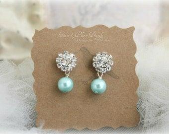 Bridesmaid Jewelry Aqua Blue Pearl Rhinestone Earrings - Sterling Silver - Bridal Bridesmaids Crystal Earrings- Ready to Ship