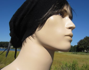 Men's Black Merino Wool Slouchy Beanie Hat Leather Tie Back A1411