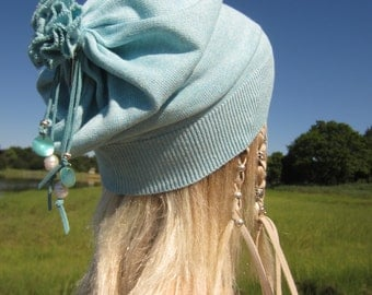 Bohemian Clothing Hats Lightweight Slouchy Beanie Cotton Baggy Tie Back Slouch Tam Womens Aqua Blue Shell Fresh Water Pearls A1299C