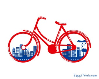 Nursery Bicycle City Environment Royal Blue Red Bike Art Print more colors available