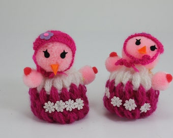 Vintage Egg Warmers Easter Egg Covers Egg Cozy Crocheted Pink Birds