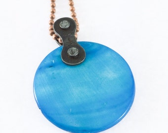 Bicycle chain pendant with blue shell cycling necklace bike jewelry bicycle jewelry