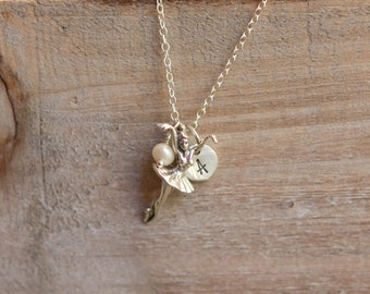 Ballerina Necklace - Little Girl Necklace Sterling Silver Initial - Ballet Dancer Handstamped Necklace - June Birthstone