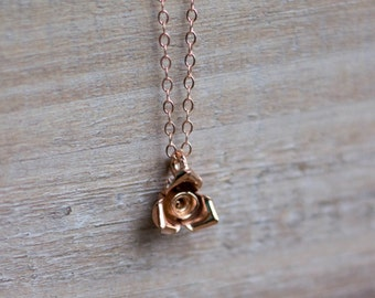 Rose Gold Flower Necklace - Layering Necklace - Rose Gold Vermeil - Flower Necklace - Everyday Necklace - Gift For Her - Mother's Day Gift