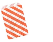 Set of 12 Orange Diagonal Stripe Paper Goody Bags - Weddings - Parties - Shower favors & more!