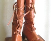 1970s Vintage Tall Brown Boho Boots, Made in Italy