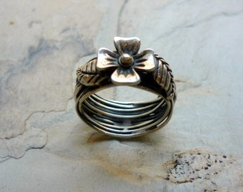 Sterling Silver Ring, Floral Silver Ring, Wide Silver Ring, Woodland Silver Ring, Floral Organic Ring, Silver Flower Ring, Botanical Ring.